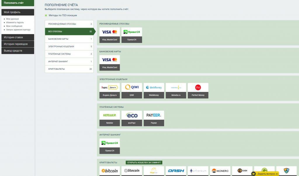 Способы пополнения счета
